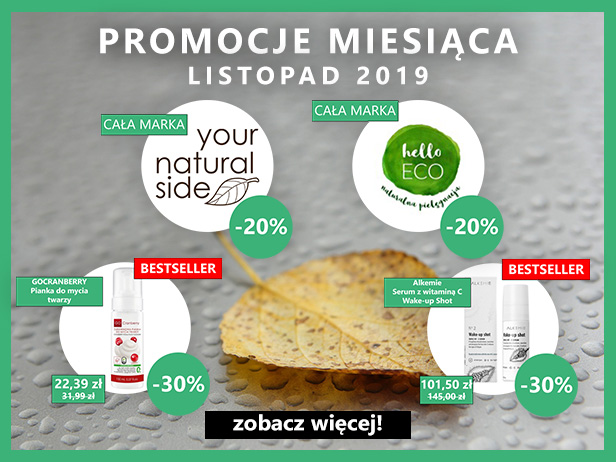 Promocje listopada! -20% Your Natural Side, -20% helloEco